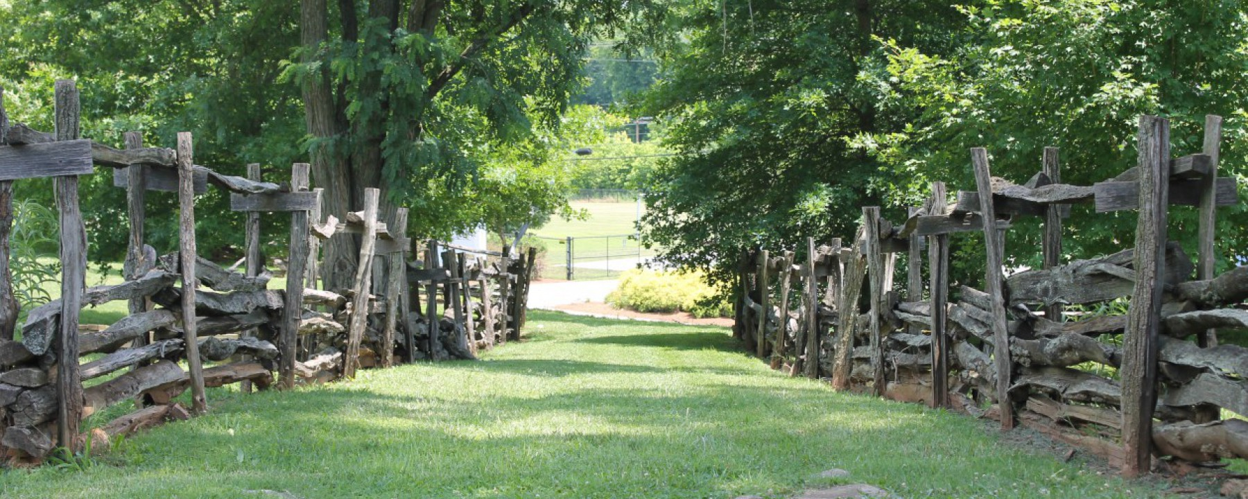 Grassy walkway in Old Salem, NC