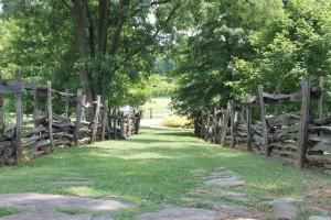 Walk between fences.