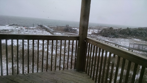 Snow at a Southern Beach