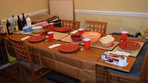 Table ready for family meal.