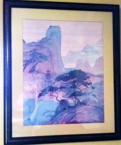 Peaceful scene print by Hero Nim, American artist with pseudonym.