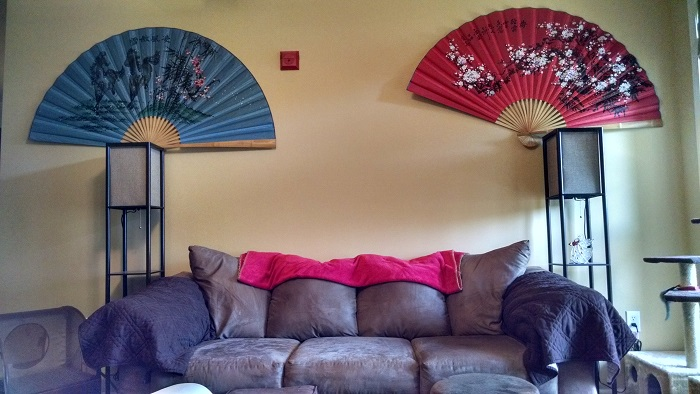 Wall fans and Japanese style floor lamps