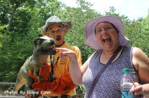 Antics with a T-Rex Puppet at the zoo.