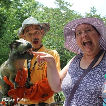 Antics with a T-Rex Puppet.