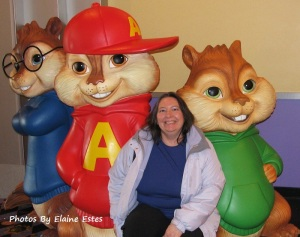 Hanging with her chipmunk friends.