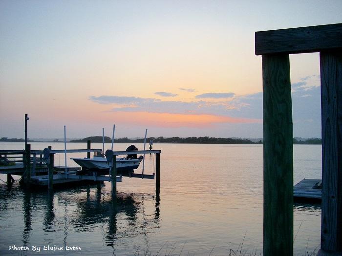 Sunset on wharf.