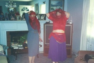 My 70 year old Aunt Helen and I posing with veils.