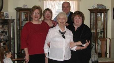 Dawn, Elaine (me) , Jim, Betty standing with Aunt Helen in front.