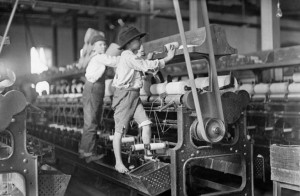 Children in the early 1900's working in the mills.