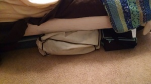 Clothes storage bag under one side of my bed.