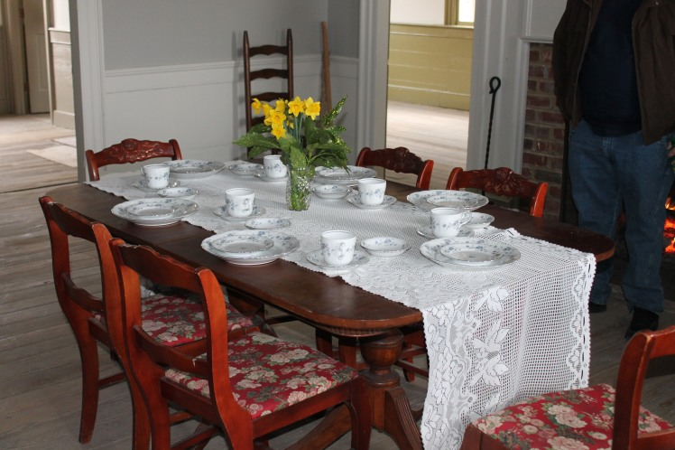 The dining table set like it would have been during the Civil War Times