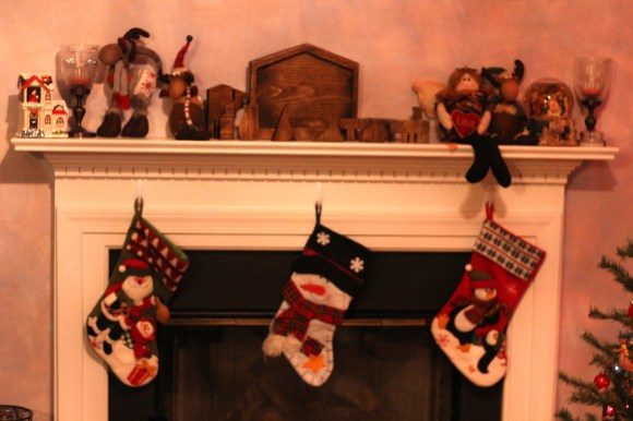 Snowman stockings and Christmas Mantle