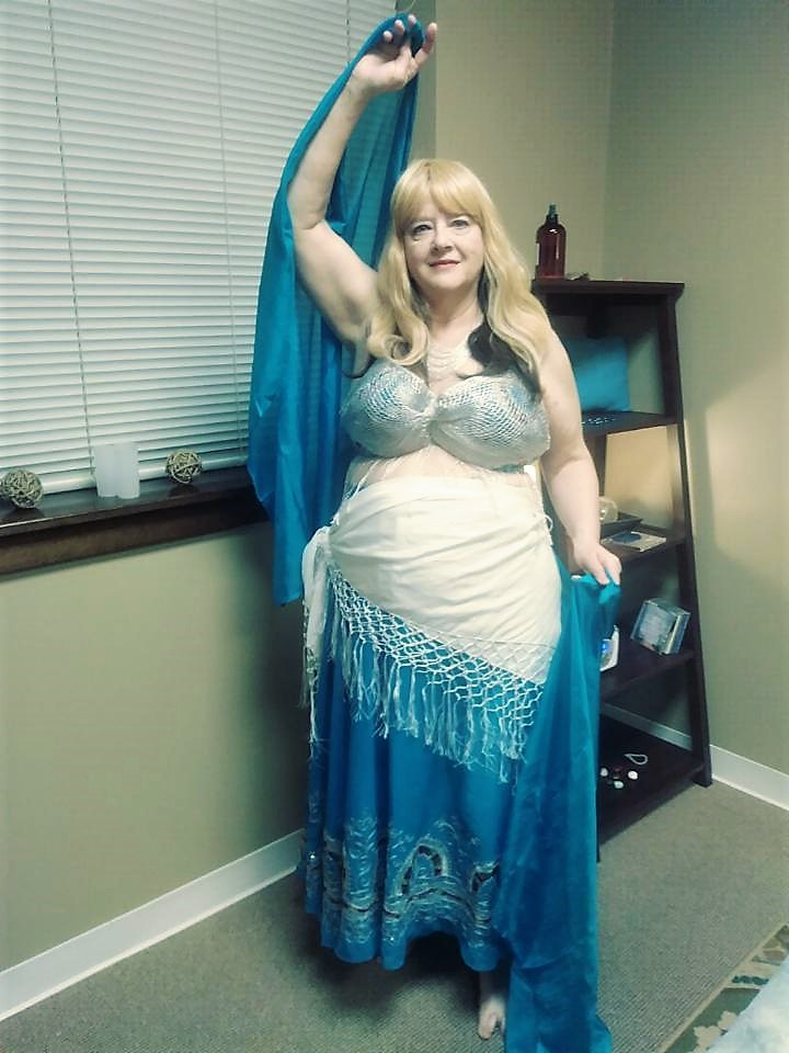 Turquoise and sliver belly dancing costume from a sari.