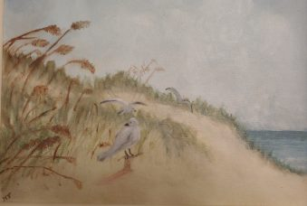 Oil painting of sandy beach by Aunt Helen.